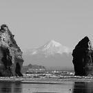 Two of the three sisters and Mt Taranaki by Heather Watson