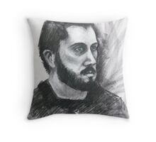 Male art student sitting in Throw Pillow