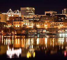 Victoria, B.C., skyline at night by Barb White