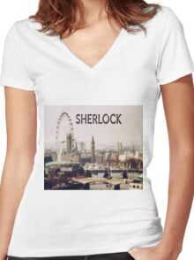 Sherlock & London Women's Fitted V-Neck T-Shirt