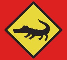 Crocodile YELLOW WARNING sign Alligator One Piece - Long Sleeve