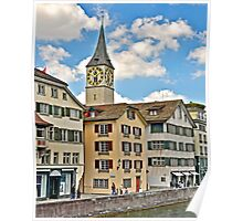 Zurich Clock Tower Poster