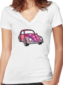 Buggin' - Plaid Women's Fitted V-Neck T-Shirt