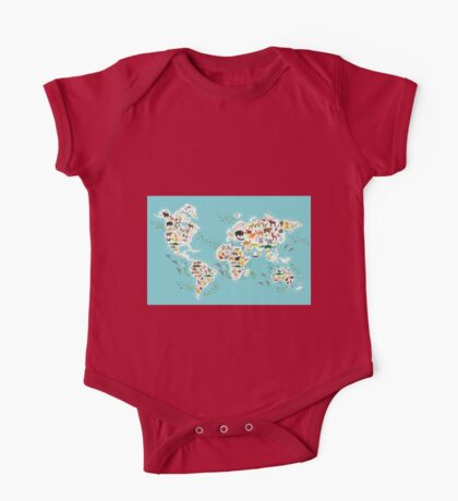Cartoon animal world map for children One Piece - Short Sleeve