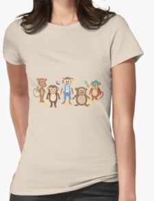 Funny Smiling Monkeys Womens Fitted T-Shirt