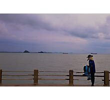 Thailand: a fisher and the sea Photographic Print