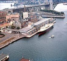 Circular Quay (West), The Rocks  & Royal Yacht Britannia, Sydney 1963 by Adrian Paul