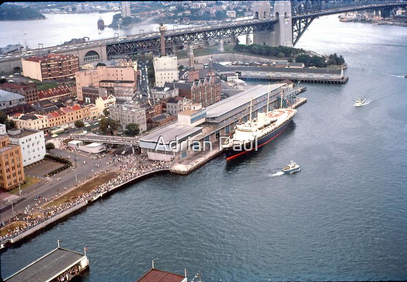Circular Quay (West), The Rocks  & Royal Yacht Britannia, Sydney 1963 by Adrian Paul