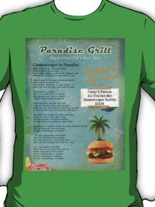 Cheeseburger in Paradise Jimmy Buffet Tribute Menu  T-Shirt