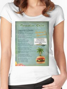 Cheeseburger in Paradise Jimmy Buffet Tribute Menu  Women's Fitted Scoop T-Shirt