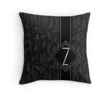 1920s Jazz Deco Swing Monogram black & silver letter Z Throw Pillow