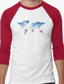 Wanderlust World Map Men's Baseball ¾ T-Shirt