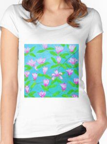Painted Pink Blossoms Women's Fitted Scoop T-Shirt