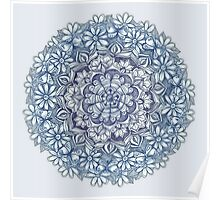 Indigo Medallion with Butterflies & Daisy Chains Poster