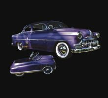 Purple Chevrolet Hot Rod with Baby One Piece - Long Sleeve