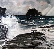 """Storm Over Gull Rock"" - Trebarwith Strand by Timothy Smith"