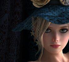 Steampunk girl wearing a blue hat by Britta Glodde