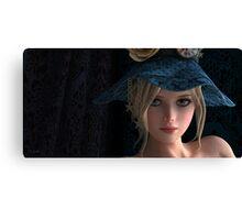 Steampunk girl wearing a blue hat Canvas Print