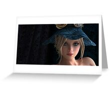 Steampunk girl wearing a blue hat Greeting Card