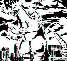 King Of Monsters 3D (B&W) by deadkiriyama