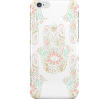 Modern girly pink mint gold Hamsa hand of fatima iPhone Case/Skin