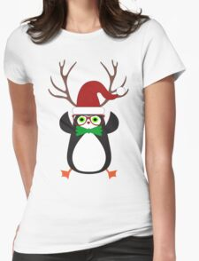 Funny Hipster Xmas Penguin Womens Fitted T-Shirt
