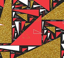 Red black gold faux glitter triangles pattern by Maria Fernandes