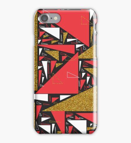 Red black gold faux glitter triangles pattern iPhone Case/Skin
