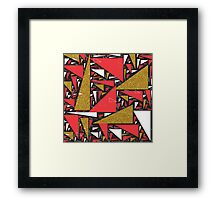 Red black gold faux glitter triangles pattern Framed Print