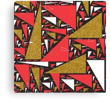 Red black gold faux glitter triangles pattern Canvas Print