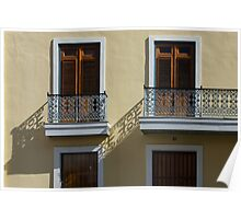 Sophisticated Wrought Iron Shadows - the Beautiful Colonial Architecture of Old San Juan Poster