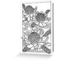 Australian Flower Series - Waratah B&W Greeting Card