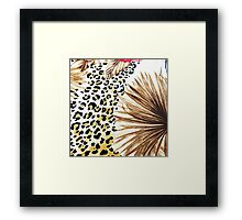 Hipster abstracty yellow black floral animal print  Framed Print