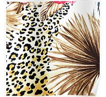 Hipster abstracty yellow black floral animal print  Poster