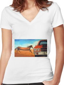 The Long Horse Women's Fitted V-Neck T-Shirt