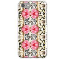 Girly pink black white abstract animal print  iPhone Case/Skin