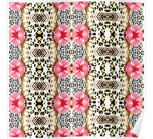 Girly pink black white abstract animal print  Poster