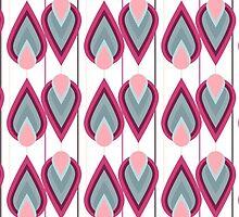 Girly pink gray coral abstract retro pattern by Maria Fernandes