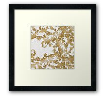 Chic white french lace gold faux glitter floral  Framed Print