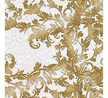 Chic white french lace gold faux glitter floral  Photographic Print