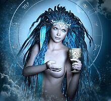 Aquarius Zodiac Fantasy Circle by Britta Glodde