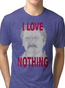 Ron Swanson Pencil Portrait Tri-blend T-Shirt