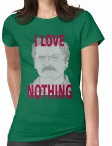 Ron Swanson Pencil Portrait Womens Fitted T-Shirt