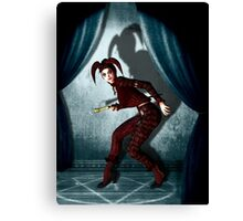 Mysterious jester in abandoned theatre Canvas Print
