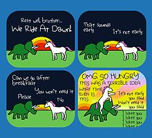 We Ride At Dawn! (Triceratops and Unicorn) by jezkemp