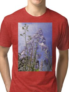 Blue Delphinium Flower Tower Tri-blend T-Shirt