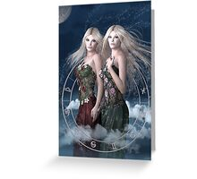 Gemini zodiac fantasy circle Greeting Card