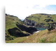 Tintagel Castle and Merlin's Cave - North Cornwall / England Canvas Print