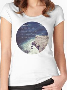 Lose Sight Of the Shore Type Typography Inspirational Beach Hipster Print Women's Fitted Scoop T-Shirt