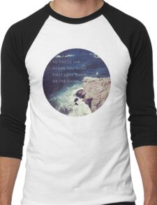 Lose Sight Of the Shore Type Typography Inspirational Beach Hipster Print Men's Baseball ¾ T-Shirt